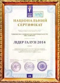 сертификат Лидер отрасли