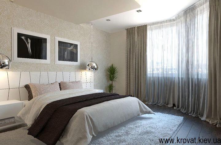 3d дизайн кровати с широким изголовьем