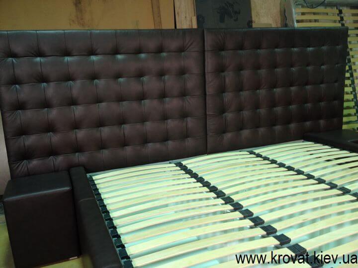 кровать в коже на заказ