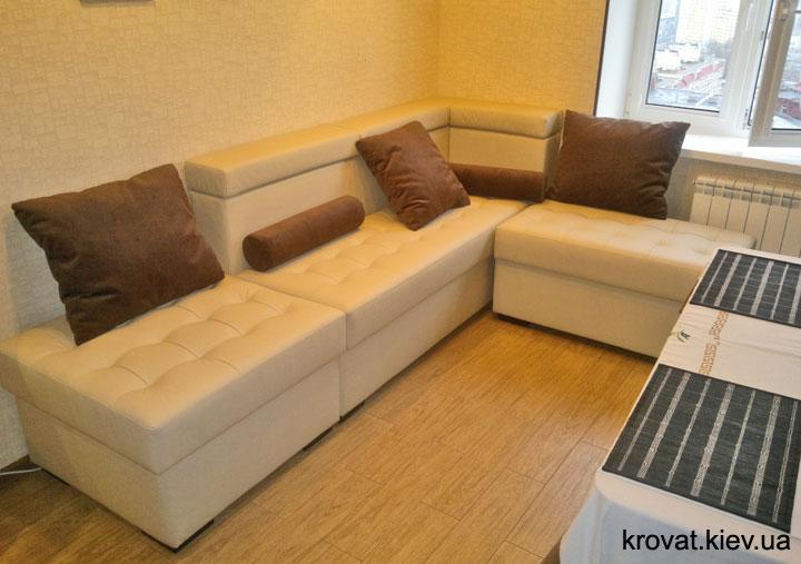 диван в коже на кухню под заказ