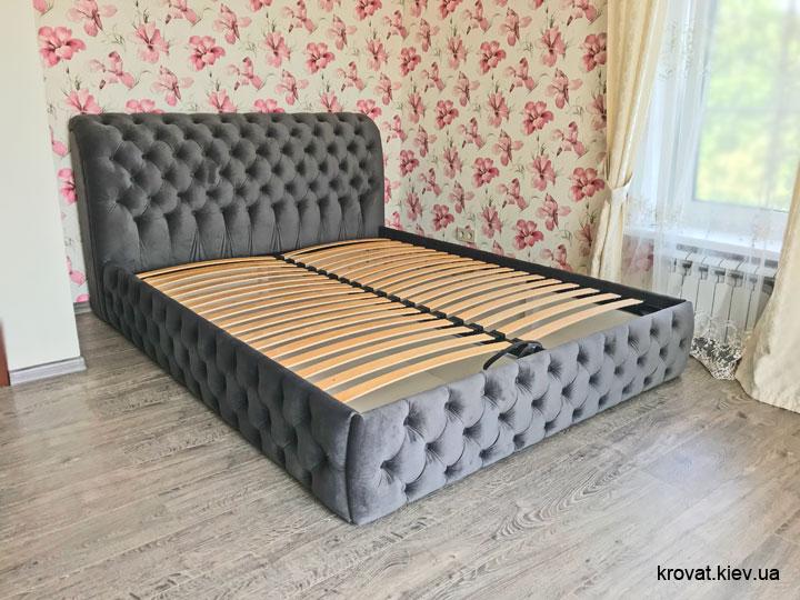 сіре ліжко 160х200 в інтер'єрі спальні на замовлення