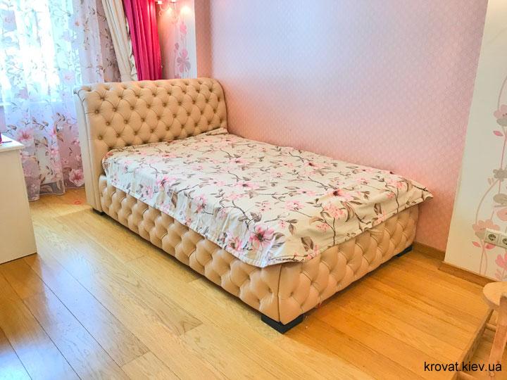 шкіряне ліжко в спальню для підлітка дівчинки на замовлення
