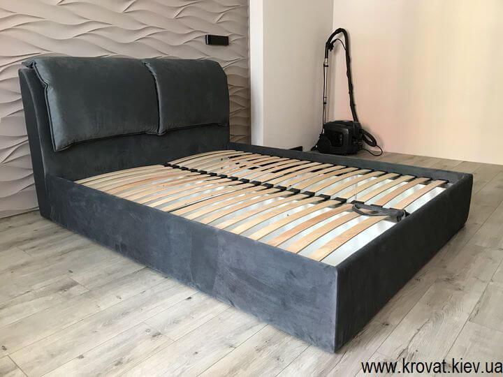 кровать со съемными подушками на заказ серая