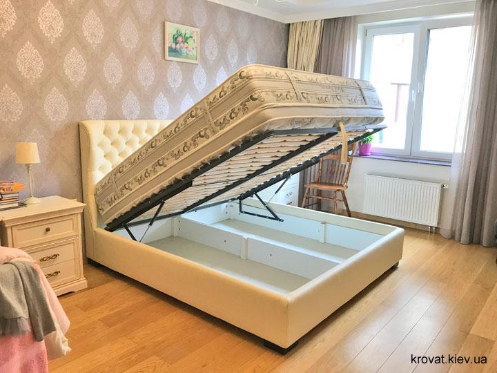 кожаная кровать с подъемным механизмом на заказ