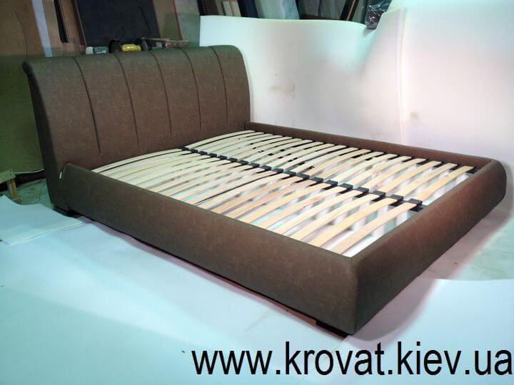 кровать в экокоже с мягкой спинкой на заказ