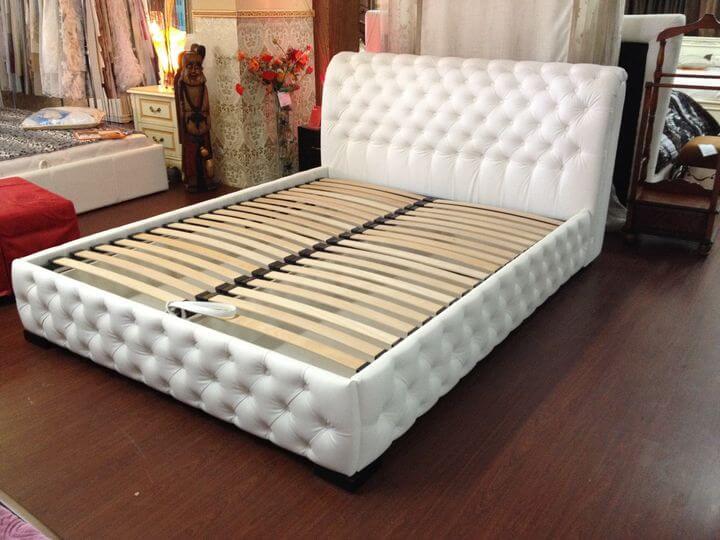 Chester upholstered ottoman bed frame on order