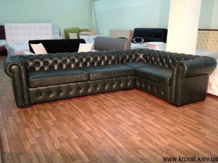зелений кутовий диван Честерфілд