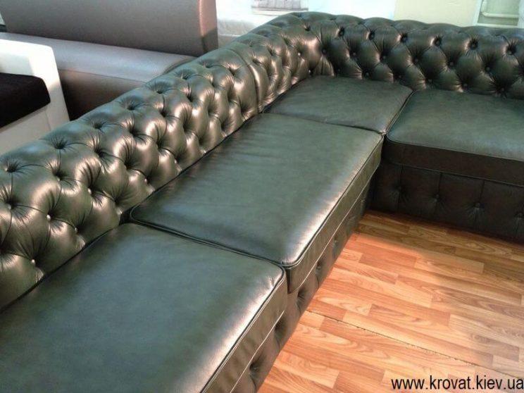 угловой диван в коже