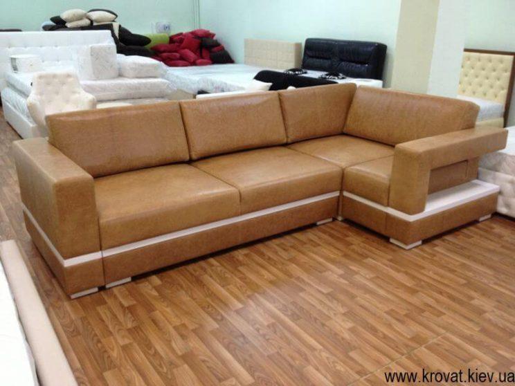 Кутовий диван в шкірі