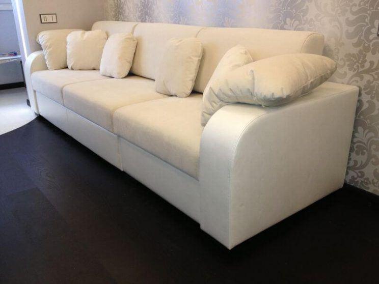 прямий розкладний диван зі шкіри на замовлення