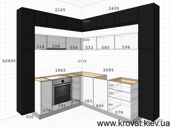 чертеж черно-белой кухни на заказ