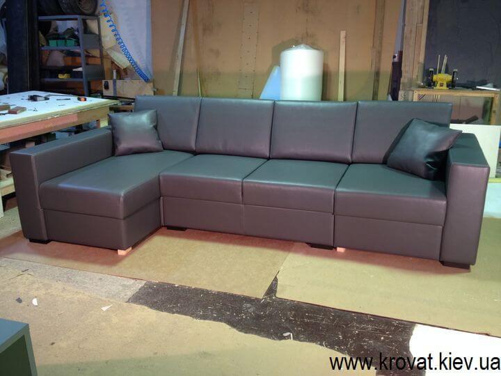 угловой диван в экокоже