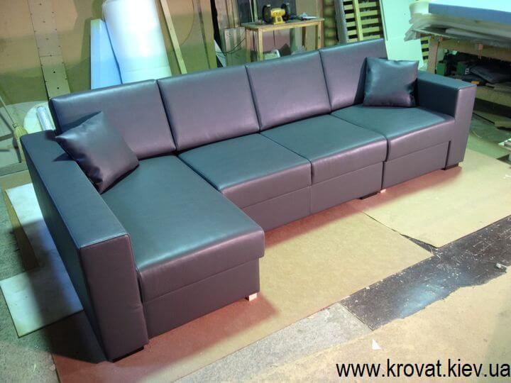 угловой диван в кожзаме