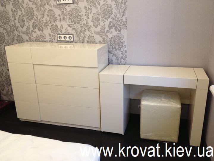 глянцеві меблі для спальні