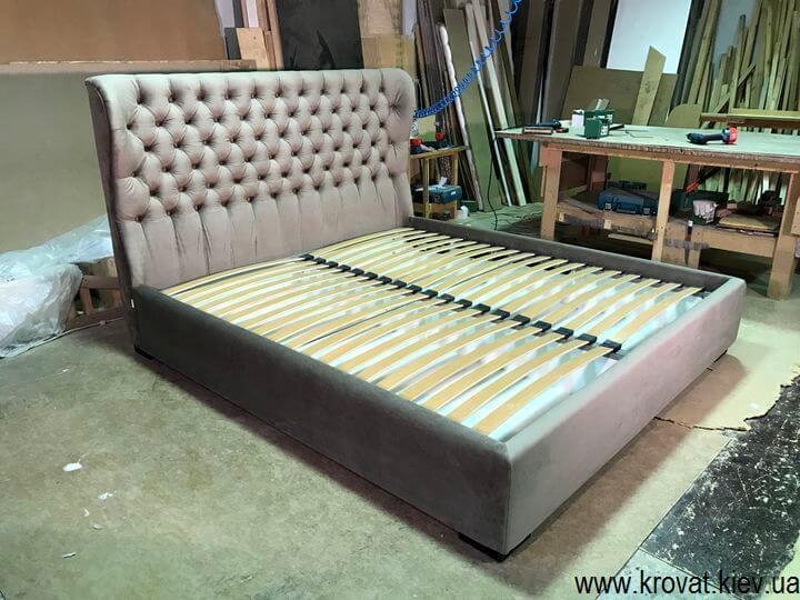 дизайн кровати с мягкими изголовьями