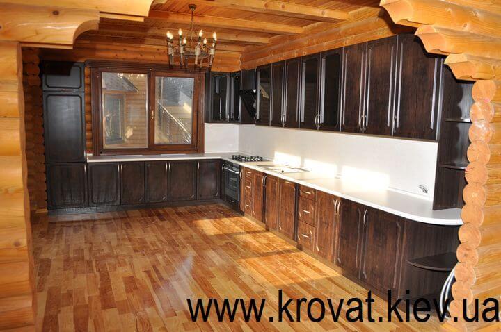 коричневая угловая кухня