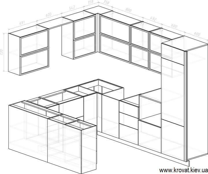 чертеж П-образной кухни с размерами