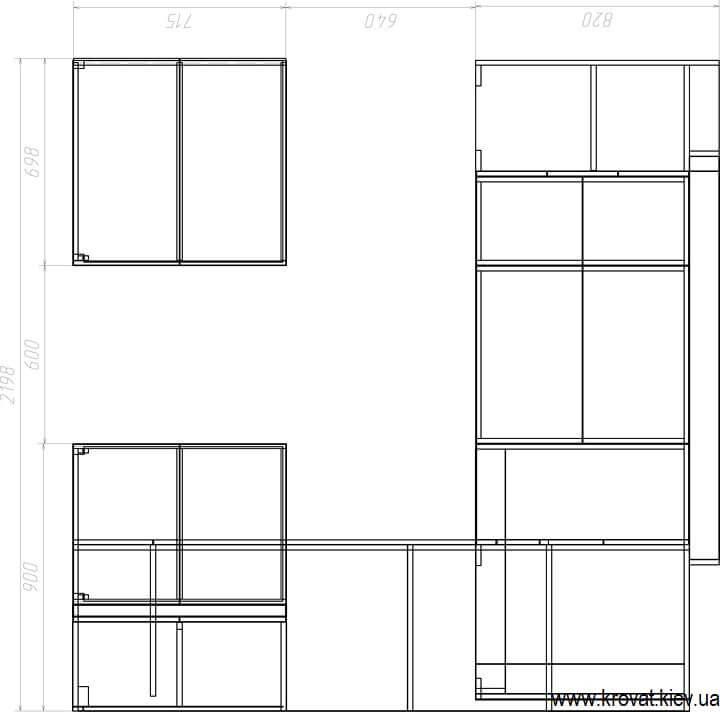 проект П-образной кухни с размерами
