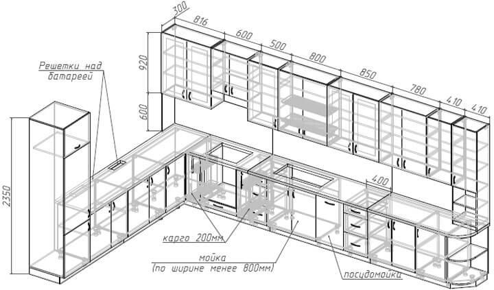 проект кухни с размерами и техникой