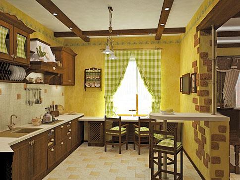 занавески в интерьере кухни