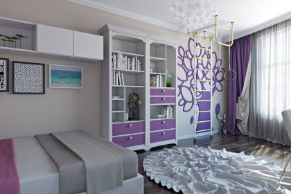 дизайн спальни для девочки 3d