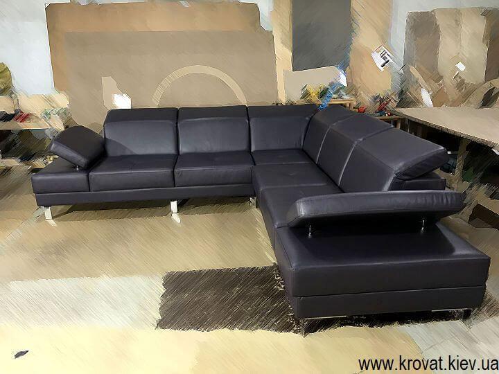 кожаный угловой диван без подлокотников на заказ