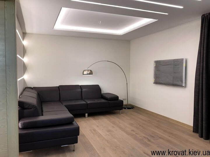 кожаный диван для гостиной на заказ
