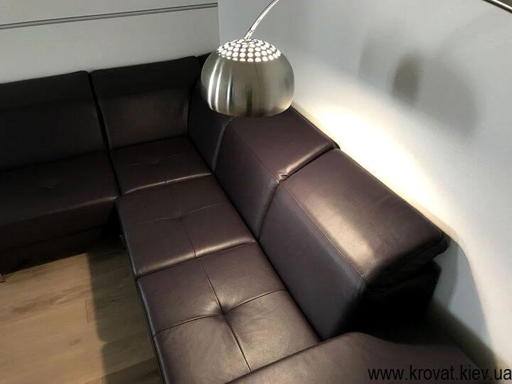 угловой кожаный диван для гостиной на заказ