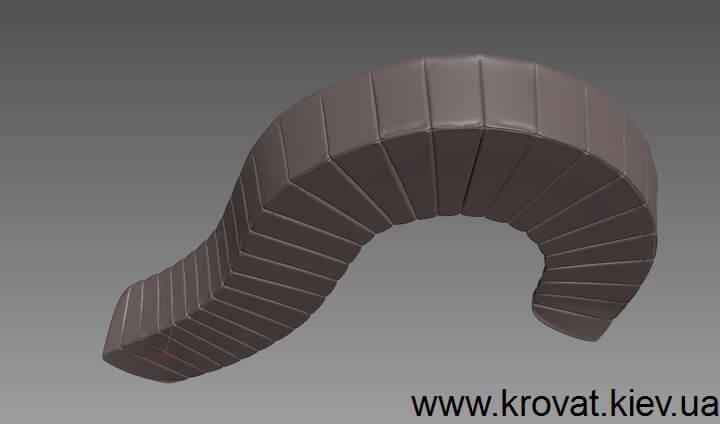 3D визуализация полукруглого дивана