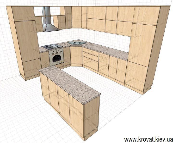 эскиз кухни в классическом стиле на заказ