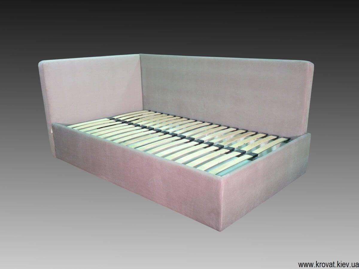 кутове ліжко з м'якою спинкою