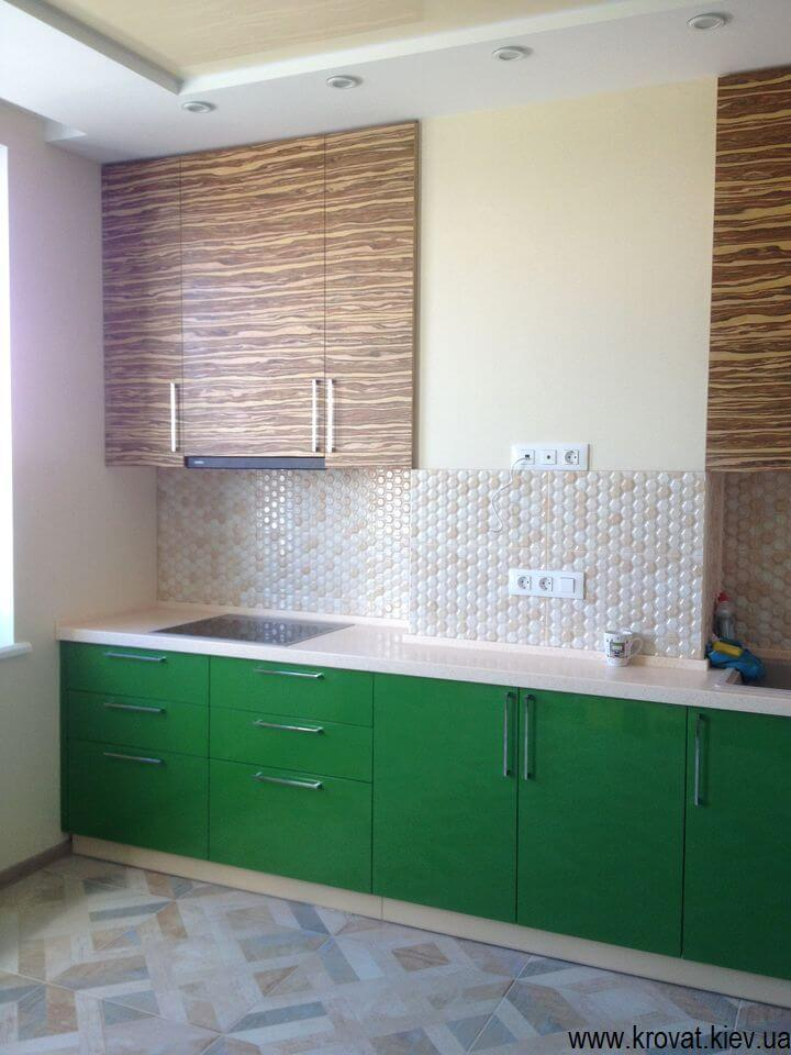 угловая кухня с фасадами из шпона на заказ