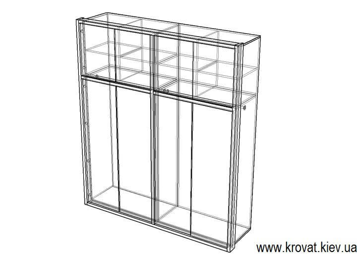 чертеж встроенного распашного шкафа на заказ