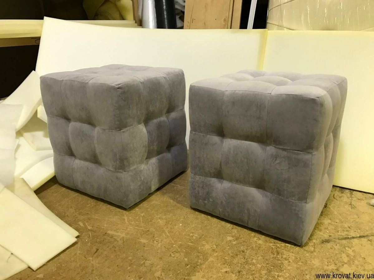 квадратные пуфы с утяжками на заказ