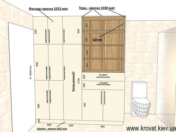 чертеж шкафа в ванную