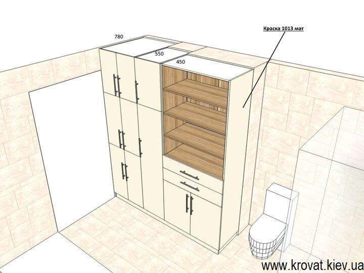 3d проект шкафа в ванную