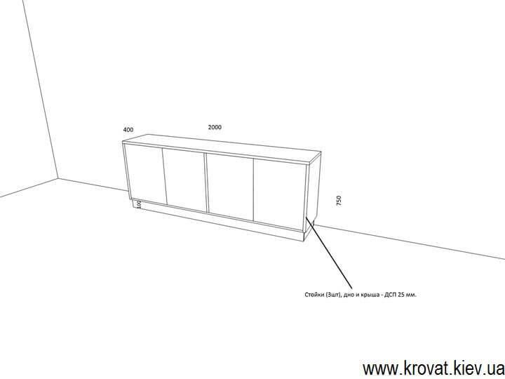 чертеж офисной тумбы