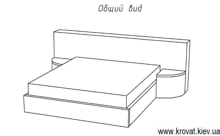 общий вид кровати с прикроватными пуфами