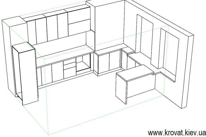 проект глянцевой кухни на заказ