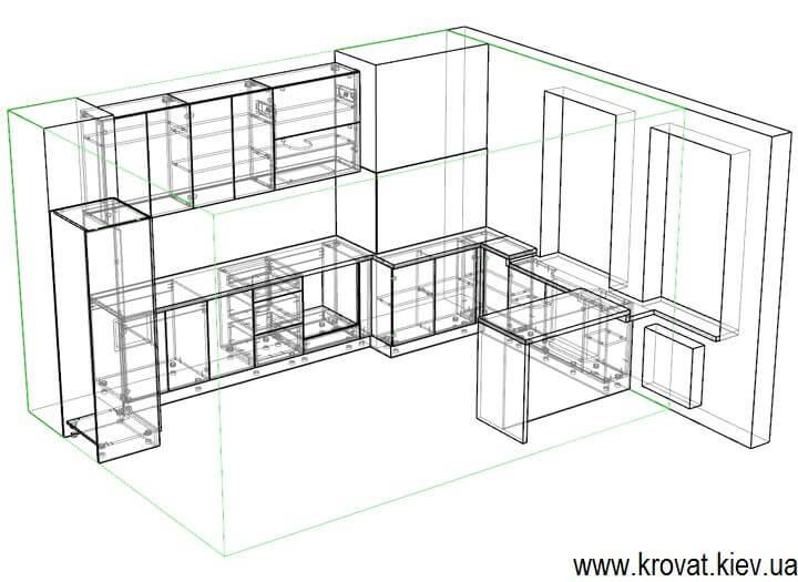 3d модель глянцевой кухни на заказ