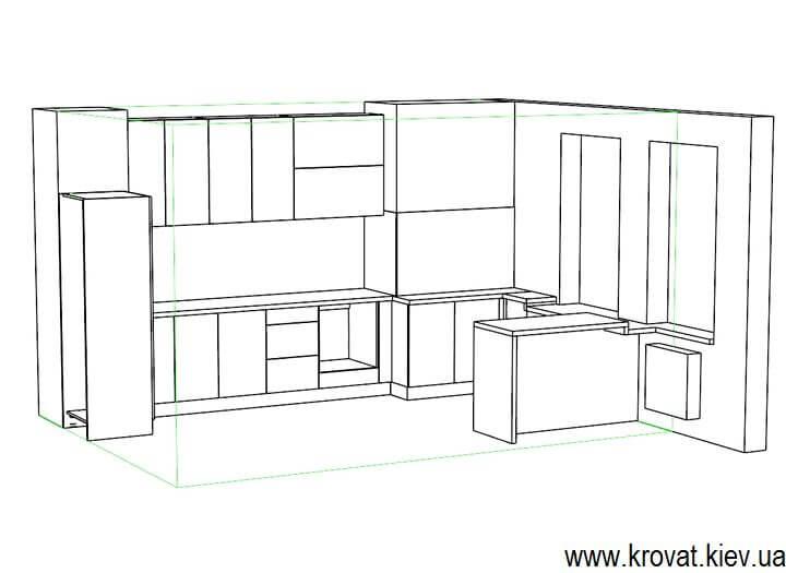 чертеж глянцевой кухни на заказ