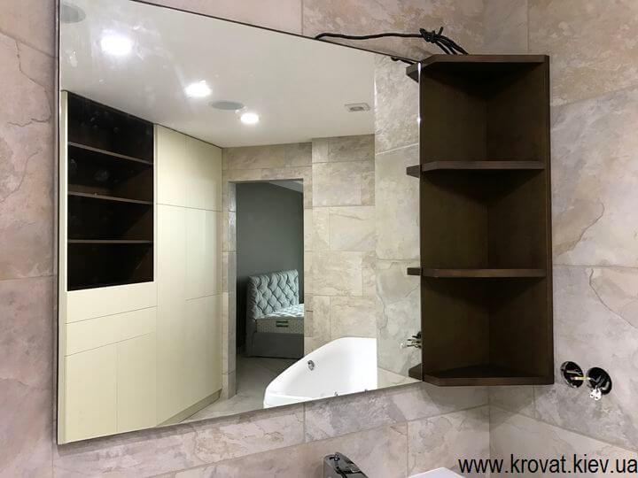 подвесная тумба для ванной с зеркалом
