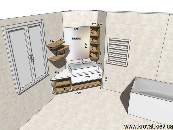 проект подвесной тумбы для ванной