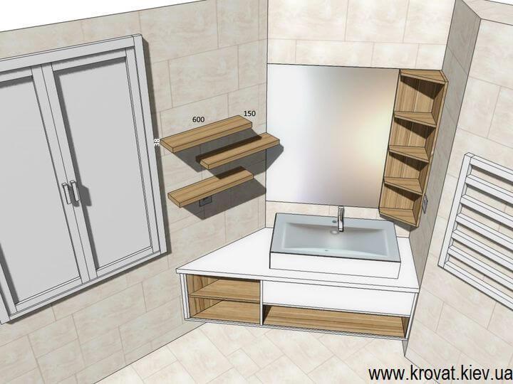 визуализация подвесной тумбы для ванной