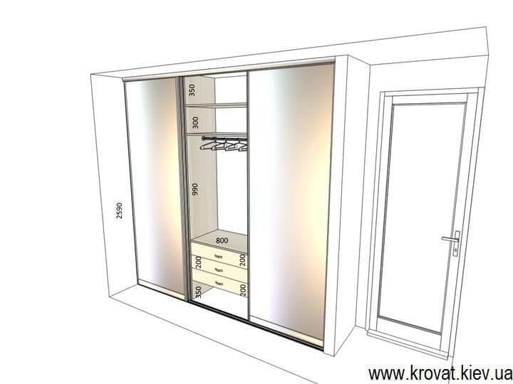 проект шкафа купе с встроенной гладильной доской