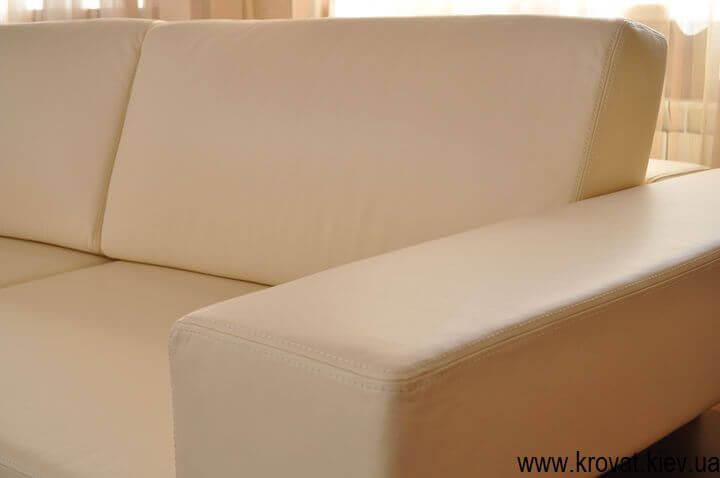 диван с радиусом из кожи
