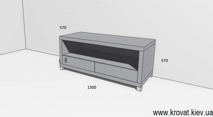 чертеж тумбы под телевизор с размерами
