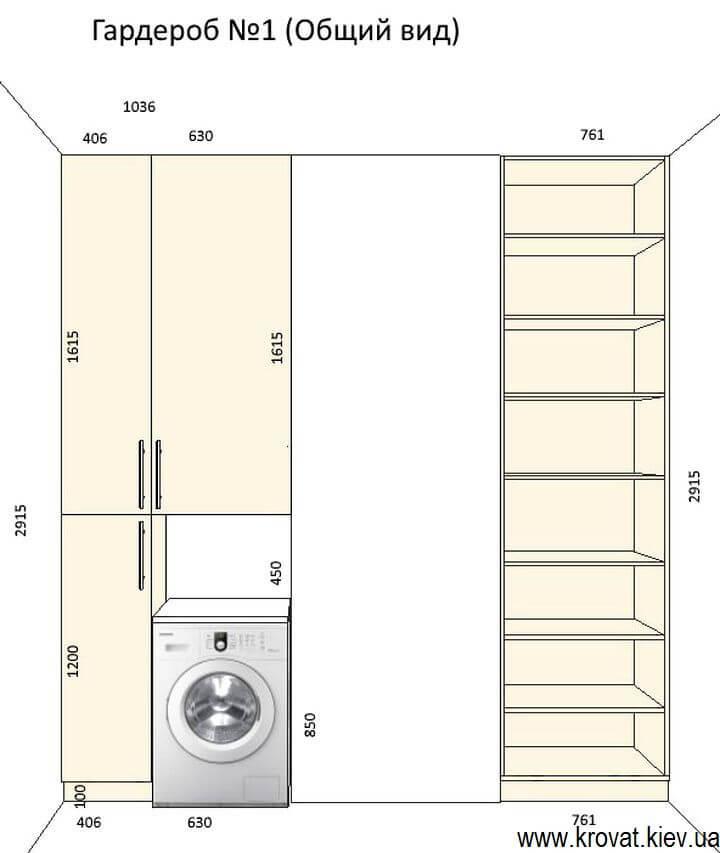 чертеж гардеробной комнаты