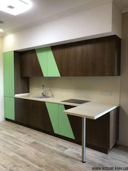 прямая кухня с мебельной фурнитурой Blum