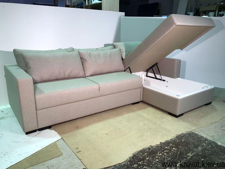 кутовий диван-ліжко з коробом для білизни